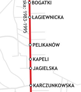 Schemat linii trolejbusowej 51