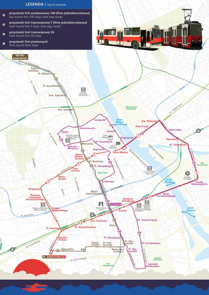Schemat przebiegu tras Warszawskich Linii Turystycznych