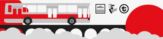 Grafika końcowa dekoracyjna. Po lewej stronie umieszczony autobus Jelcz, po prawej czerwony okrąg, na dole czarny most i chmury. Umieszczone logo WTP, Dzielnica Wisła oraz Zakochaj się w Warszawie.