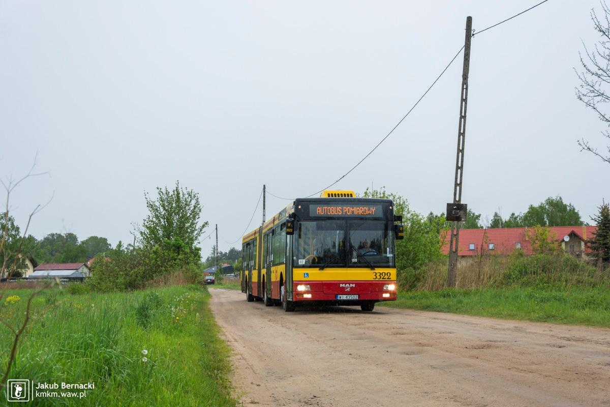 MAN NG313 nr 3322 na trasie, którą na co dzień nie kursuje komunikacja miejska
